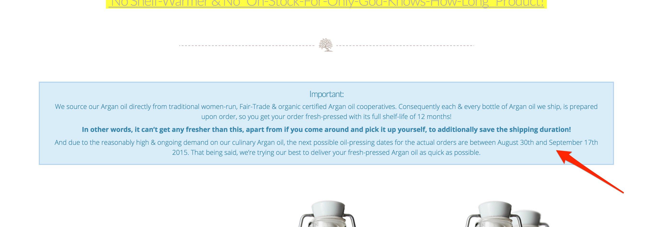 Argan oil pressing date